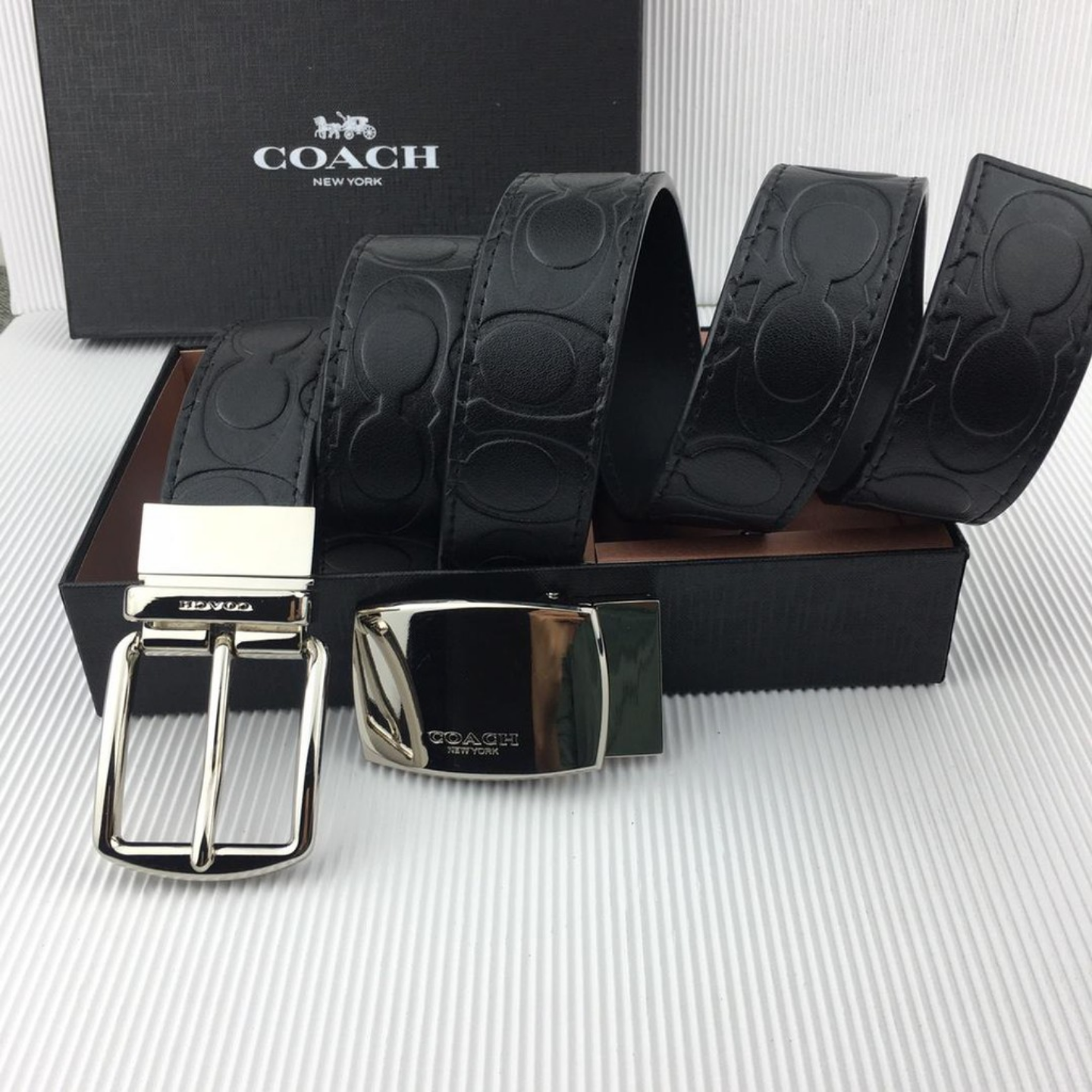 (SG COD)  Coach men's fashion belt embossed pattern F55157