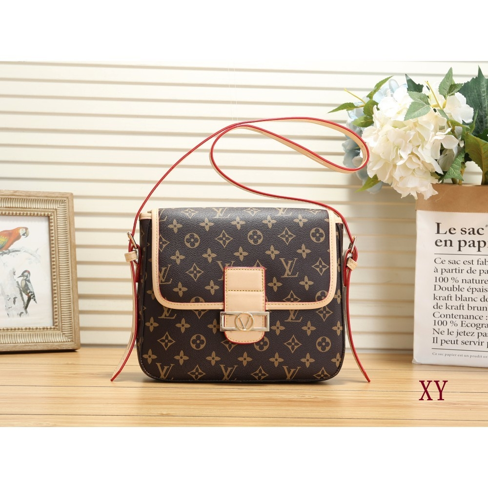 Lv old flower letter logo printed leather women's bag