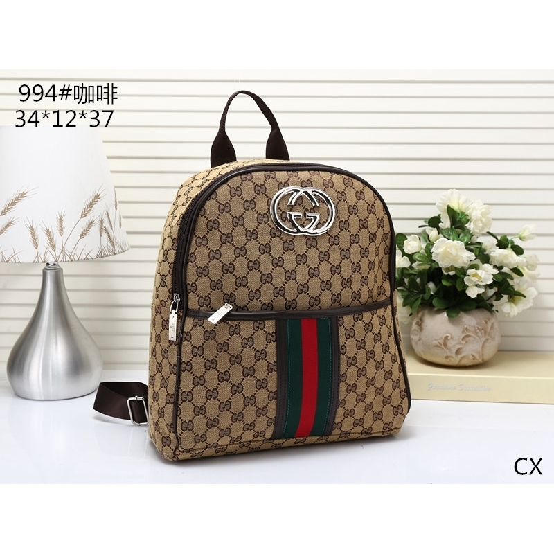 GUCCI Canvas Leather Backpack