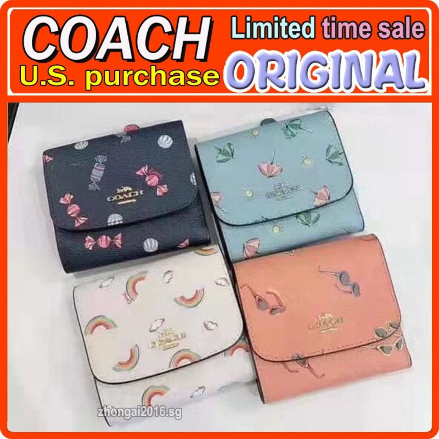 (SG COD) COACH Ladies wallet F73479 F73481 F73478 wallet and card holder short wallet casual wallet