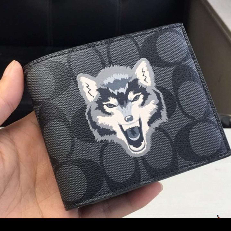 Mens wallet F31522 wolf head pattern short wallet casual wallet