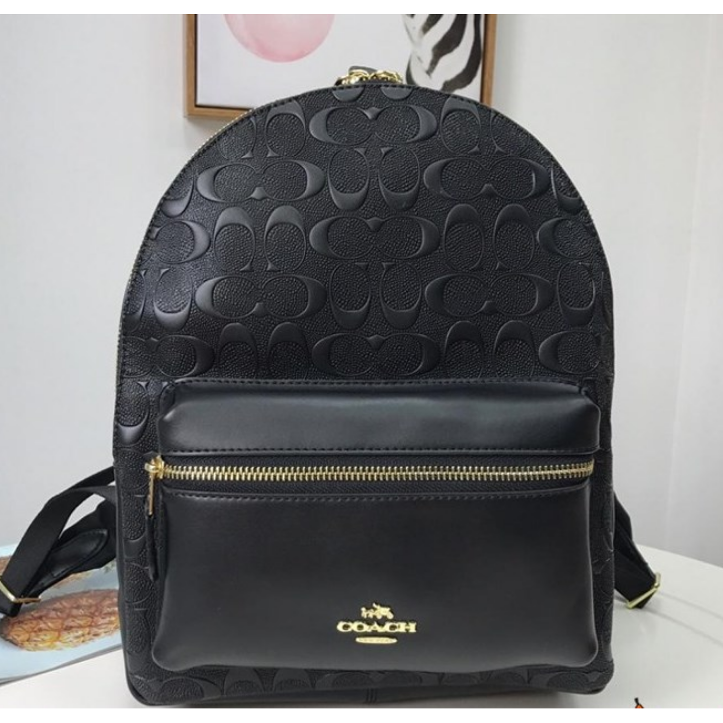 (SG COD) Women's Backpack F32083 Embossed Leathe Coach Backpack