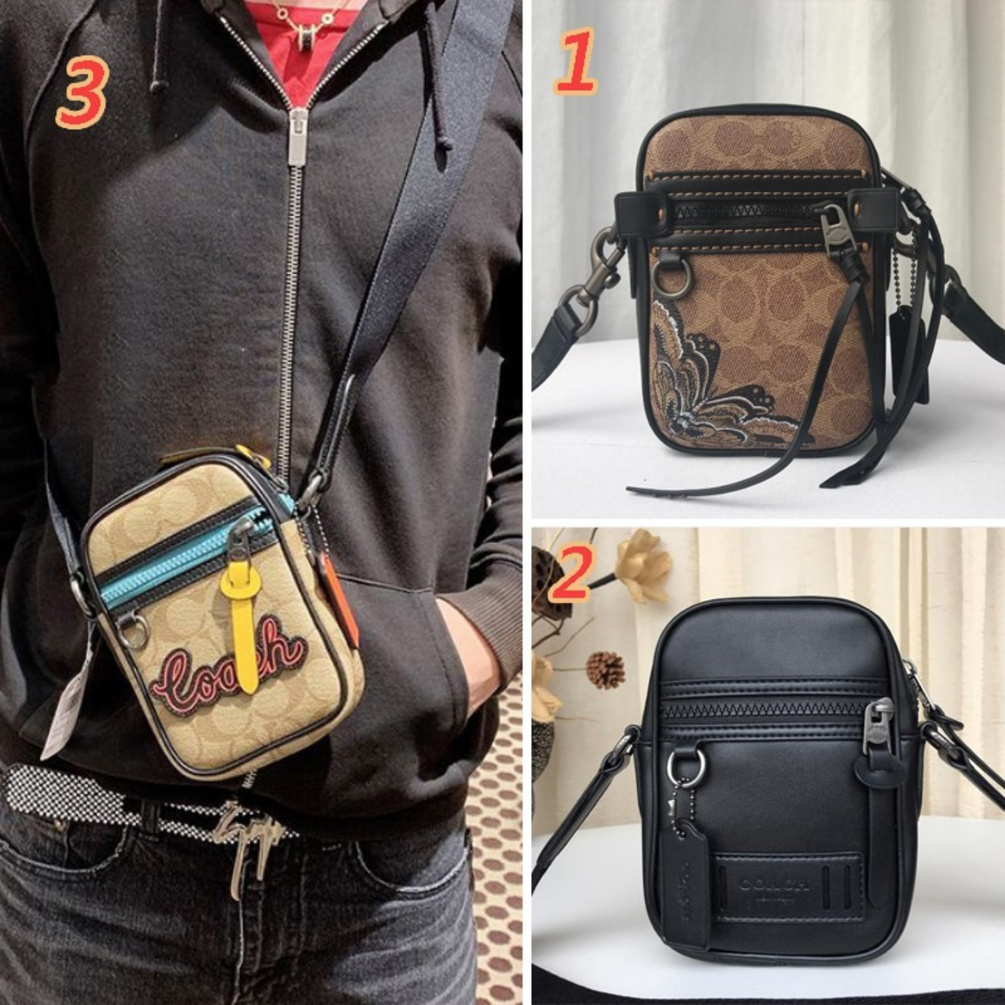 (SG COD)  Men's bag F72930 F36714 F72963 stitching pattern small square coach bag leather messenger bag