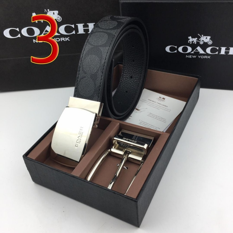 Coach Belt F64077 Mens Belt Leather Belt Gift Box Packaging