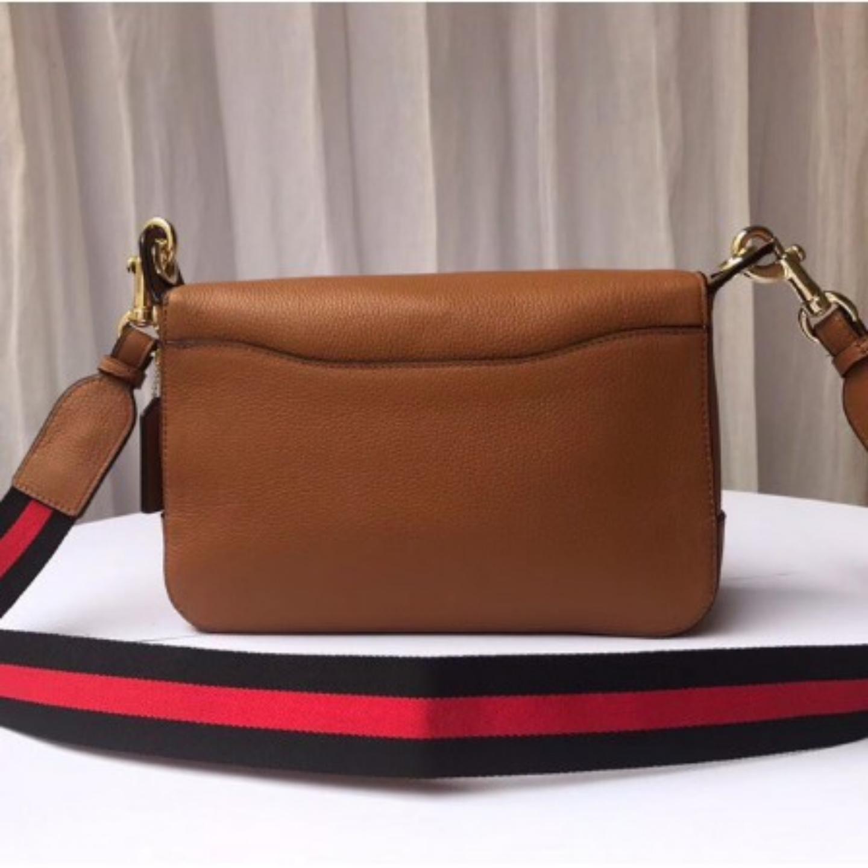 C F72703 Womens Cowhide Clamshell Shoulder Crossbody Saddle Bag