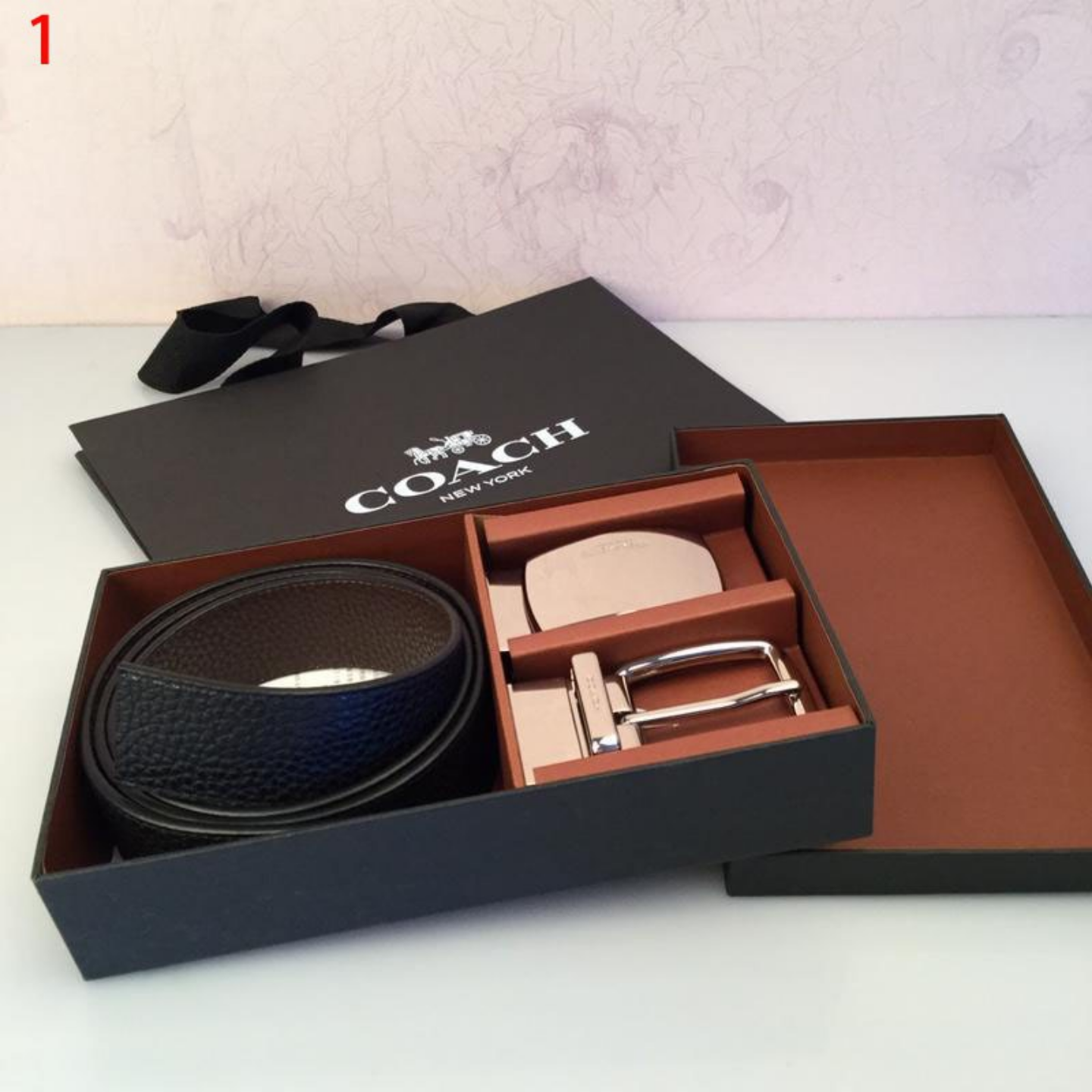 New Coach 55229 55434 Mens Wide Edition Gift Box Set Full True Leather Belt