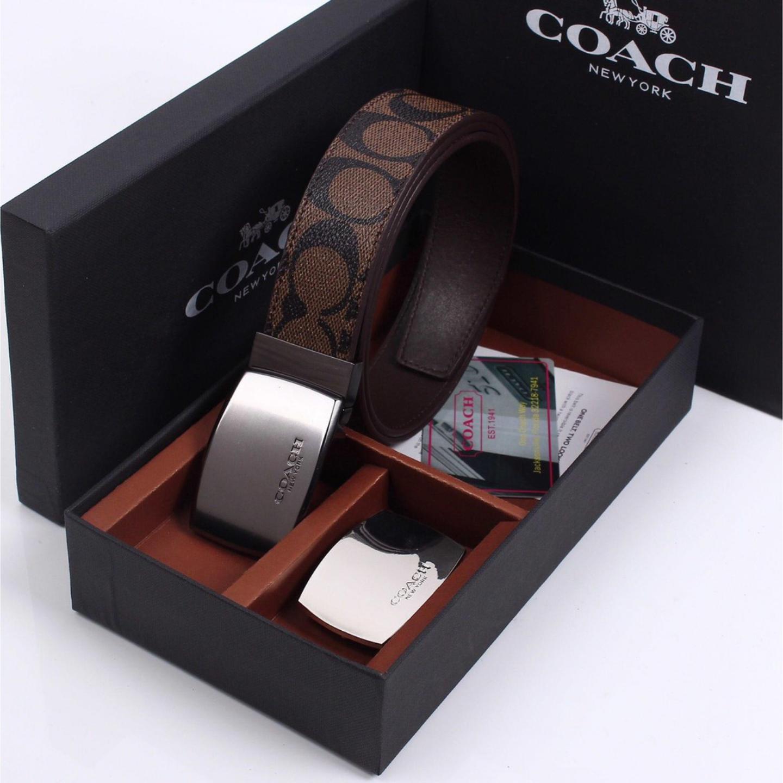 New Coach Double Button Cowhide Fashion Mens Belt