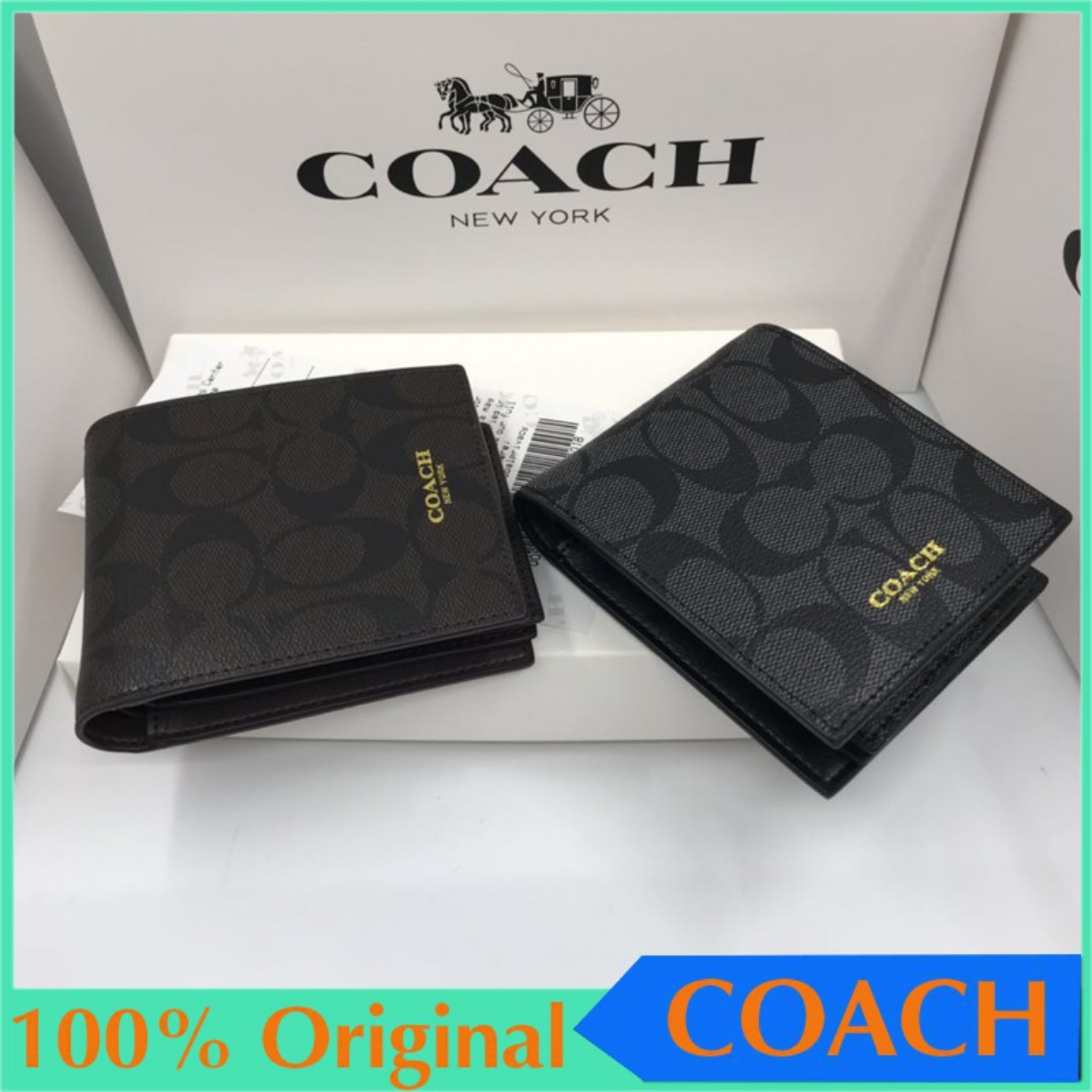 COACH F74993 F74586 Mens Short Wallet Mens Billfold Wallets Leather Wallet