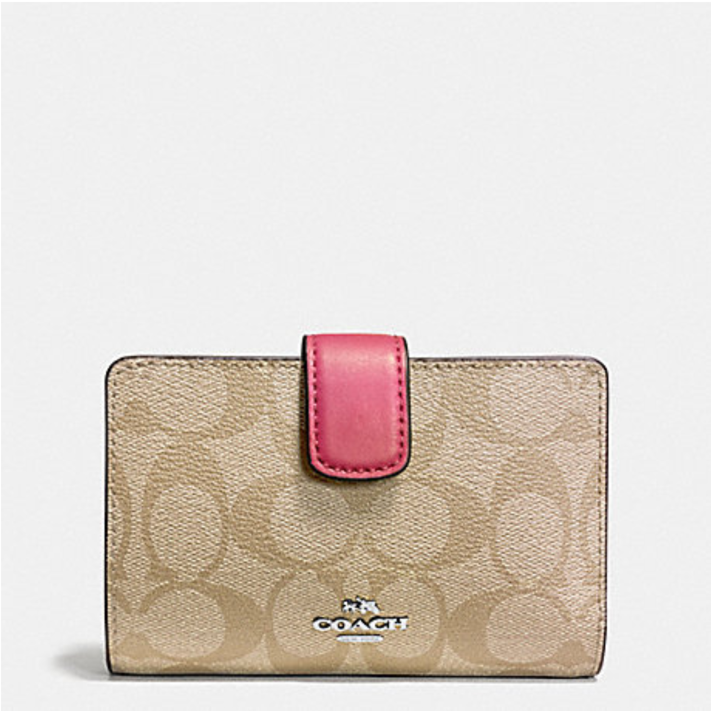 Coach Ladies Wallet MEDIUM CORNER ZIP CROSSGRAIN LEATHER COACH F53436