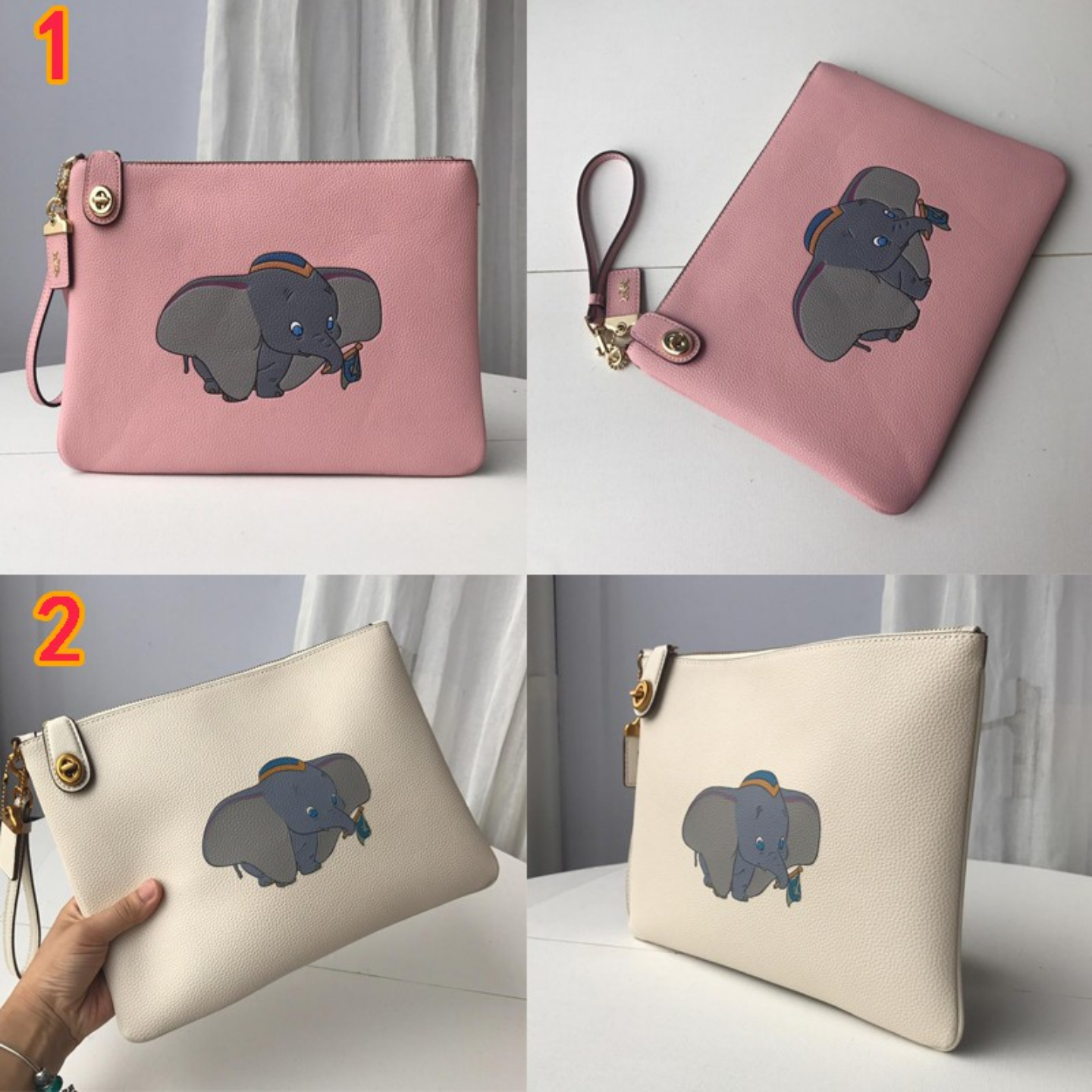 (SG COD) Coach  2019 New Small flying elephant printing leather F69198 Clutch bag