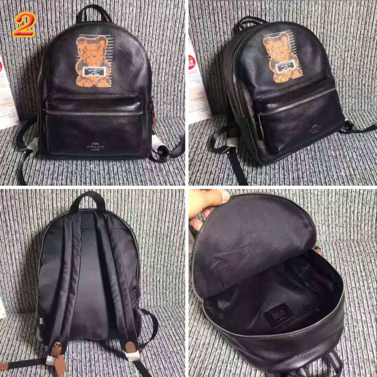 (SG COD)  Women's Backpack  Coach F76656 Panda Pattern Backpack Casual Backpack