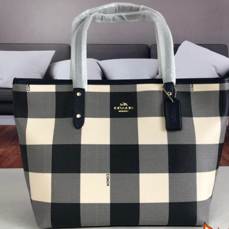 (SG COD) Women's Coach Bag F26147 Plaid Tote Bag Handbag