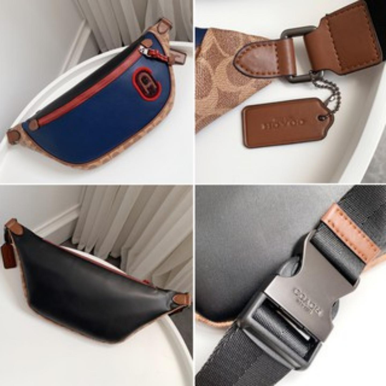 (SG COD) COACH Men's waist bag F89079 F91375 waist bag chest bag leather bag crossbody bag