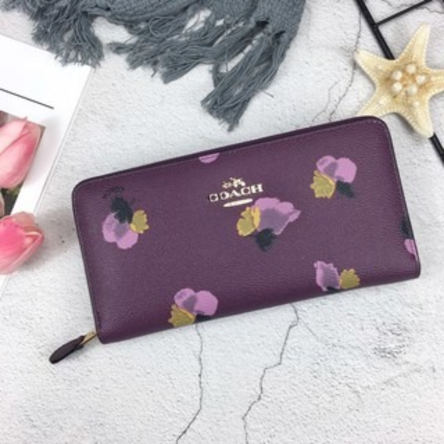 12 cards can be stored Ladies Long Wallet F53794 Flower Zipper Wallet Wallet and Cardholder Long Wallet Leather Long Wallet