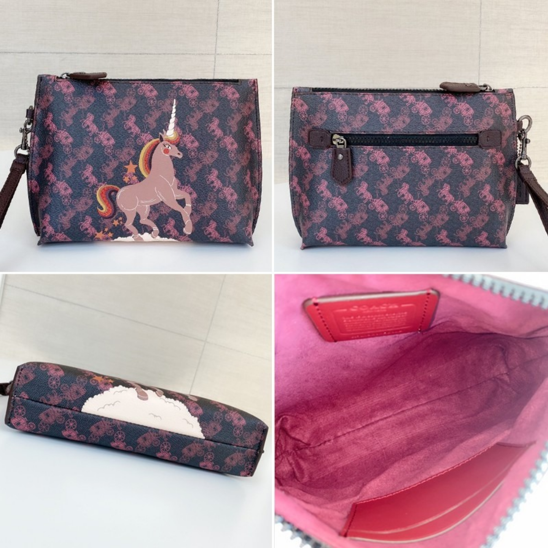 (SG COD) Coach   Women's Bag F86106 F86105 F89185 Printed Unicorn Clutches & Wristlets Clutch
