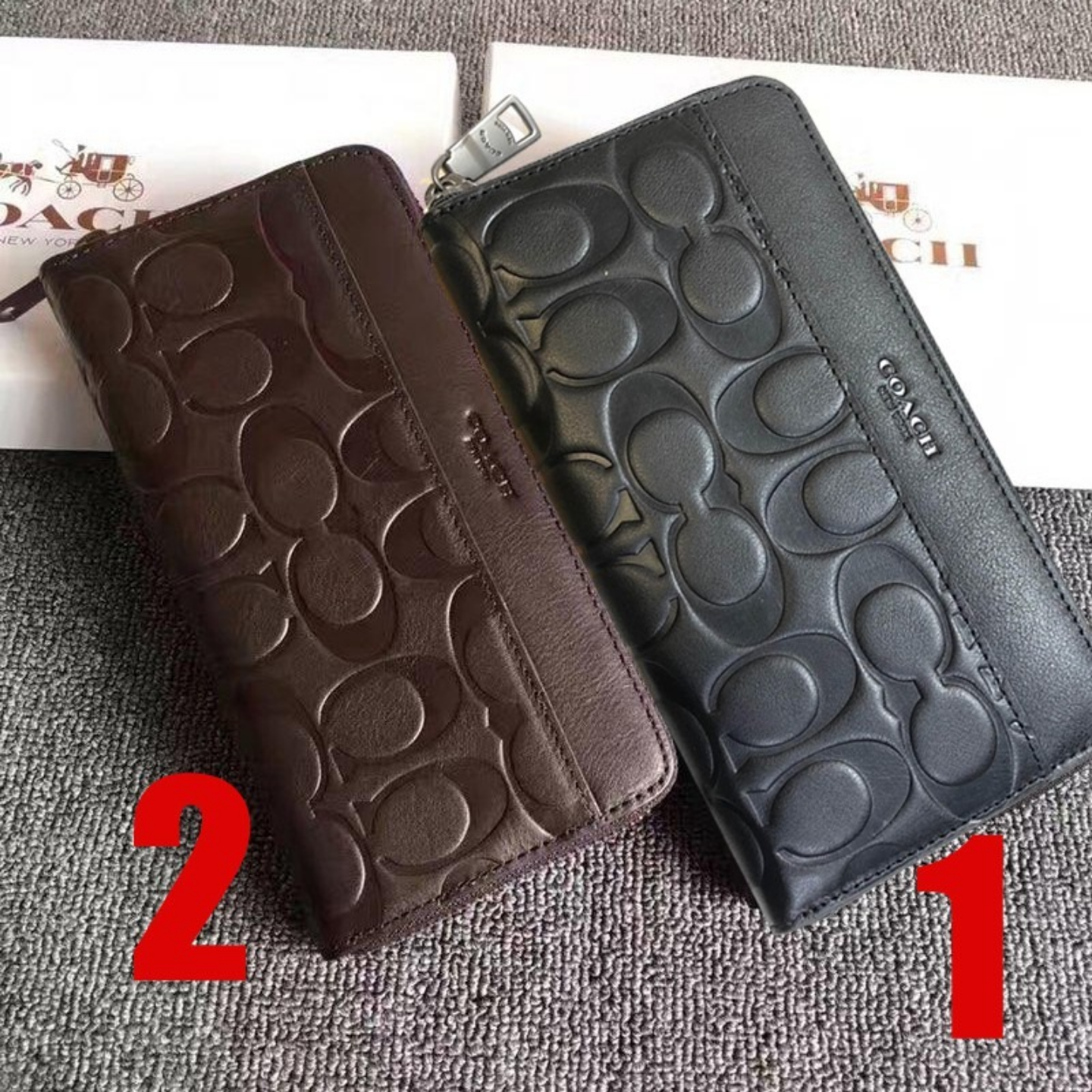 (SG COD) Limited Promotion) F74999 Men's Embossed Leather Long Wallet Coach Zip Wallet