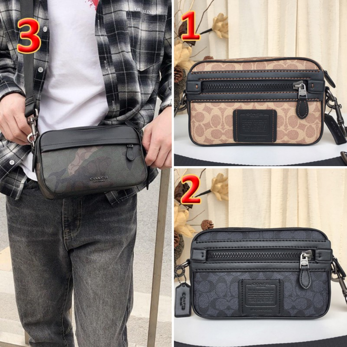 (SG COD) Coach   F69333 F67326 New Men's Messenger bag Fashion wild