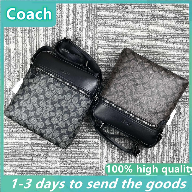 (SG COD) COACH Men's leisure bag Men's large-capacity bags Coach Men's Classic Printed Diagonal Crossbody Bag