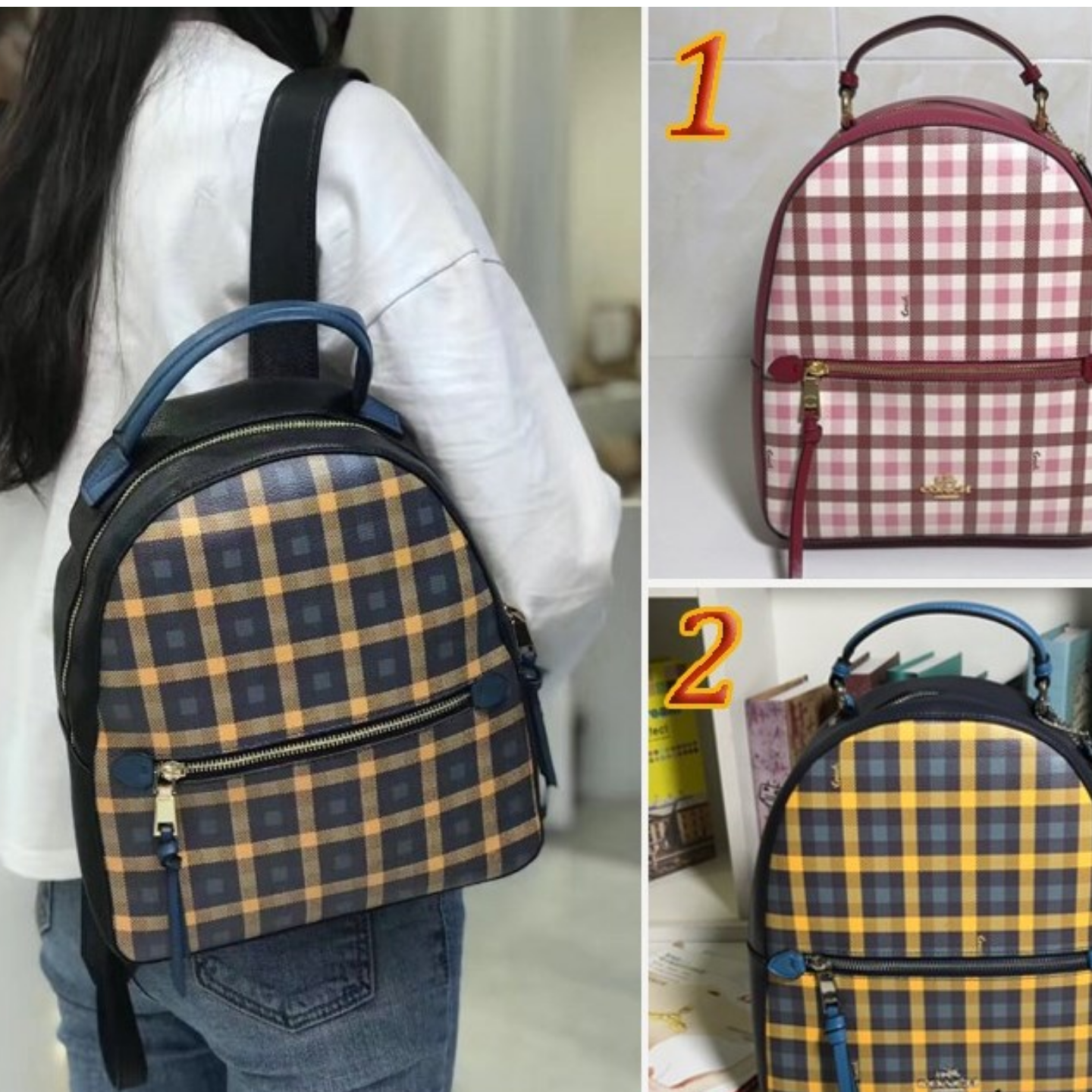 (SG COD) Coach Women's backpack F76625 plaid pattern backpack casual backpack
