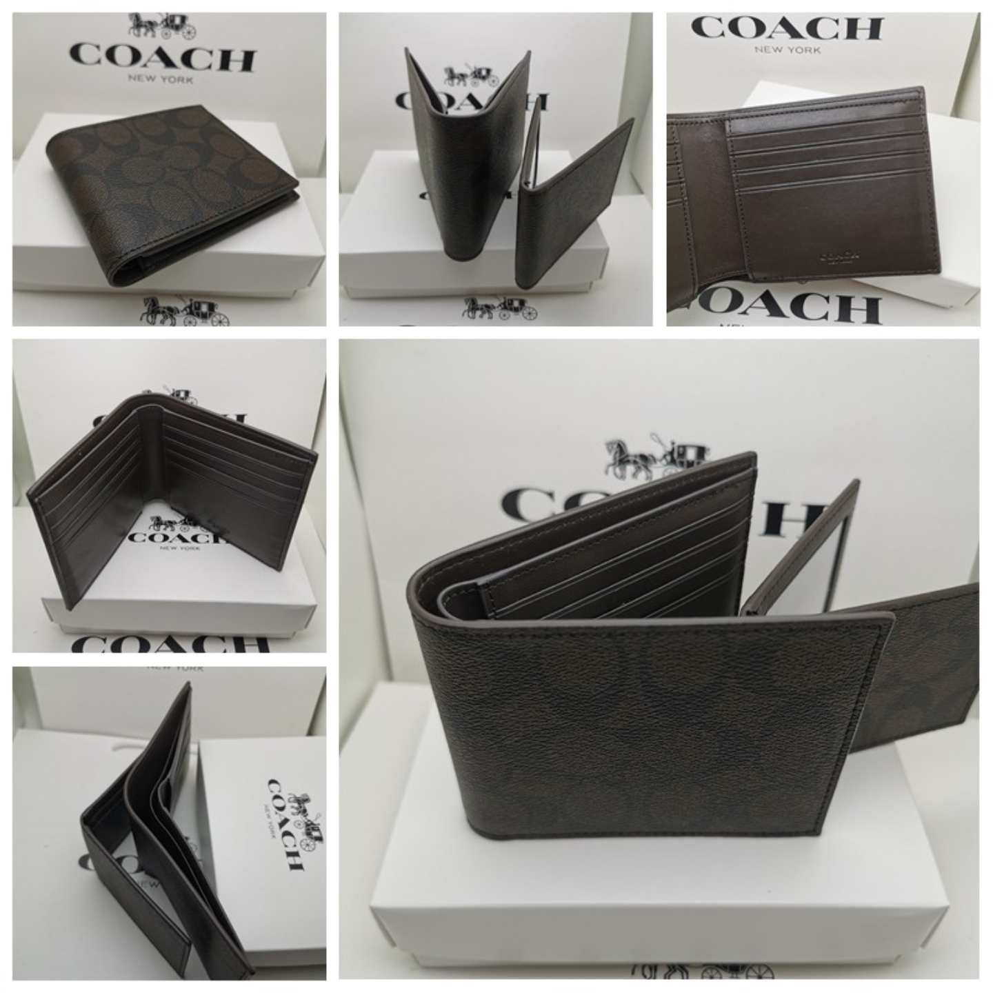 Coach Compact ID Mens Wallets Coach In Signature F74993