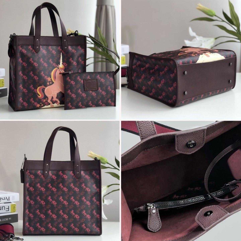 (SG COD) Women's coach  bag F79366 F89488 F79238 F79365 Carriage print stripes Tote bag Canvas handbag