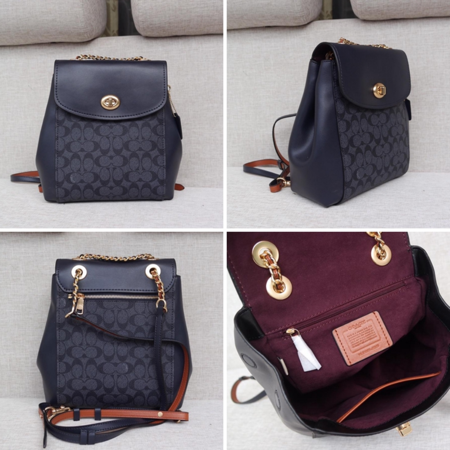 (SG COD)  Original ladies Coach backpack F53087 F38585 leather backpack casual backpack