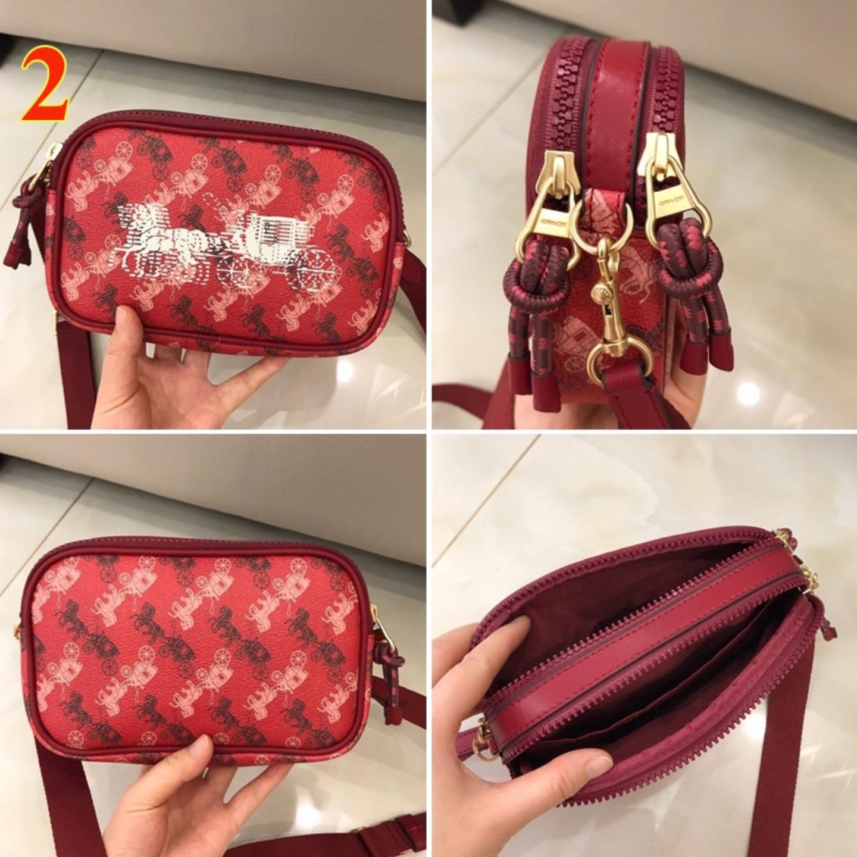 (SG COD) Coach Women's Bags F84640 F84639 camera bag printed double zipper bag shoulder bag messenger bag