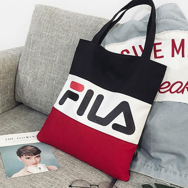 Fila Color Letter Print Canvas Bag