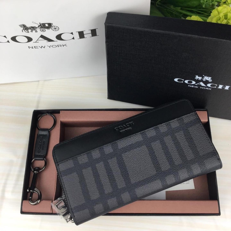 (SG COD)  Men's Coach wallet F22533 plaid long wallet zipper long wallet