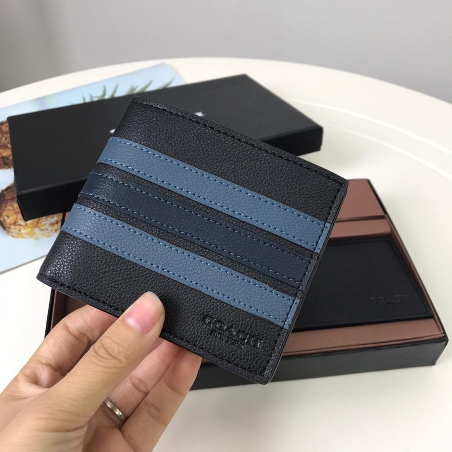 Mens Striped Wallet F24649 Short Wallet Leather Wallet