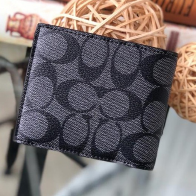 F75006 black printed short wallet