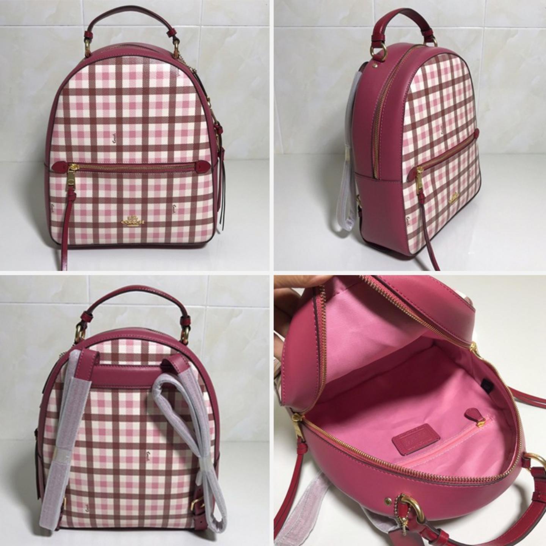 (SG COD) Coach Women's backpack F76625 plaid pattern backpack casual backpack