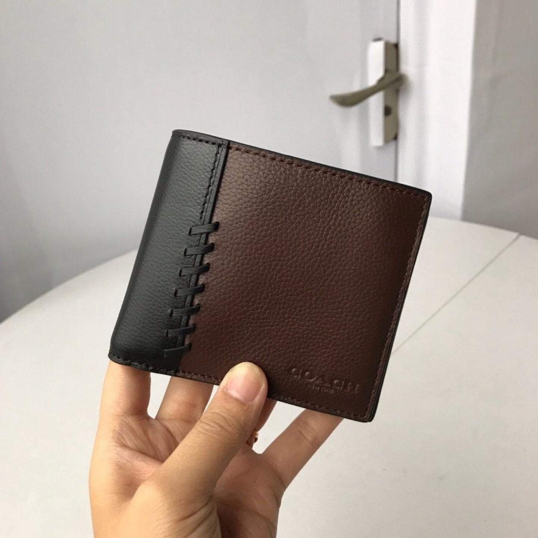 (SG COD) Men's Coach Wallet F21371 Wallet Litchi Leather Wallet Short Wallet Business Wallet