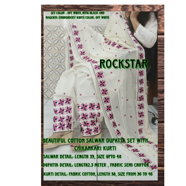 Cotton Salwar Dupatta Set With Kurti