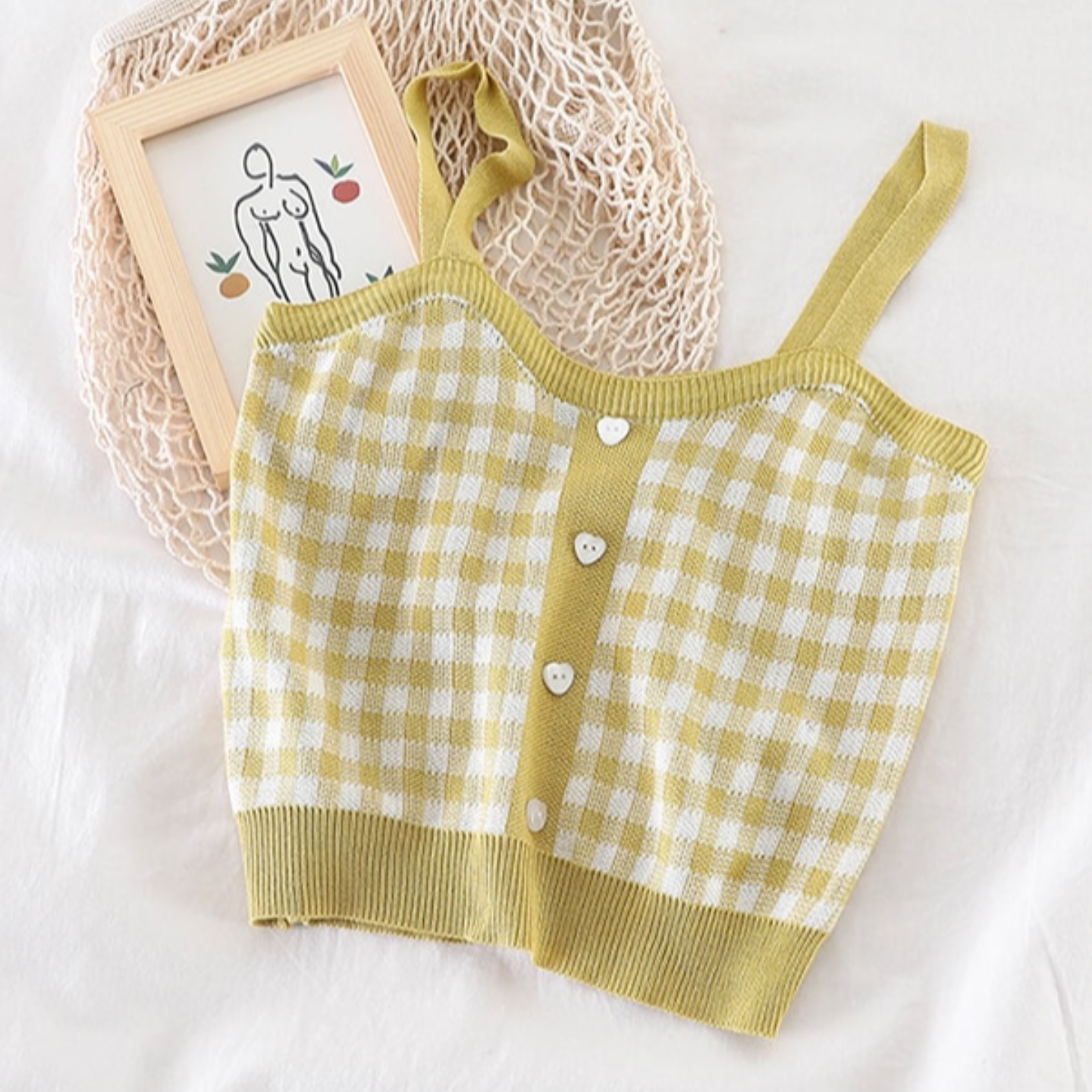 Plaid Straps With Heart Shape Buttons Knitted Top