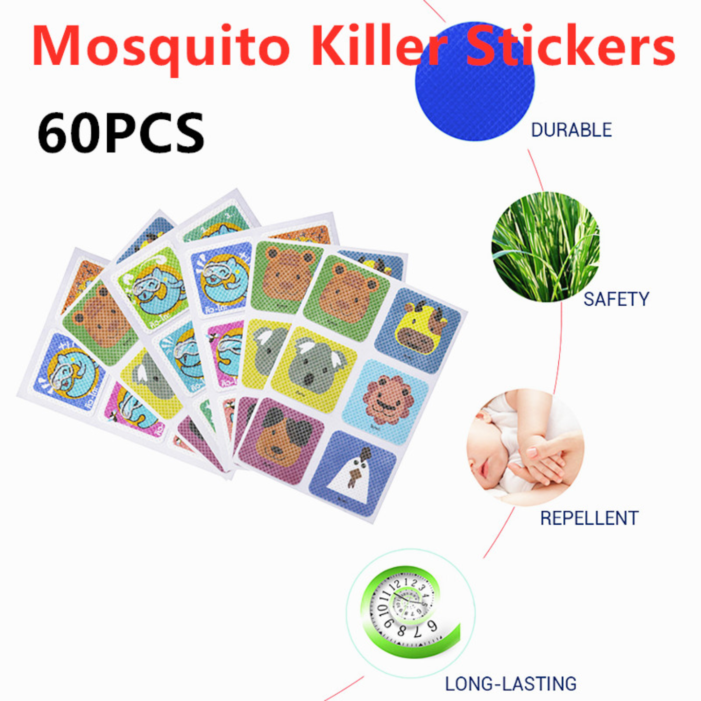 60 pieces1 Bag Natural Mosquito Repellent Patch