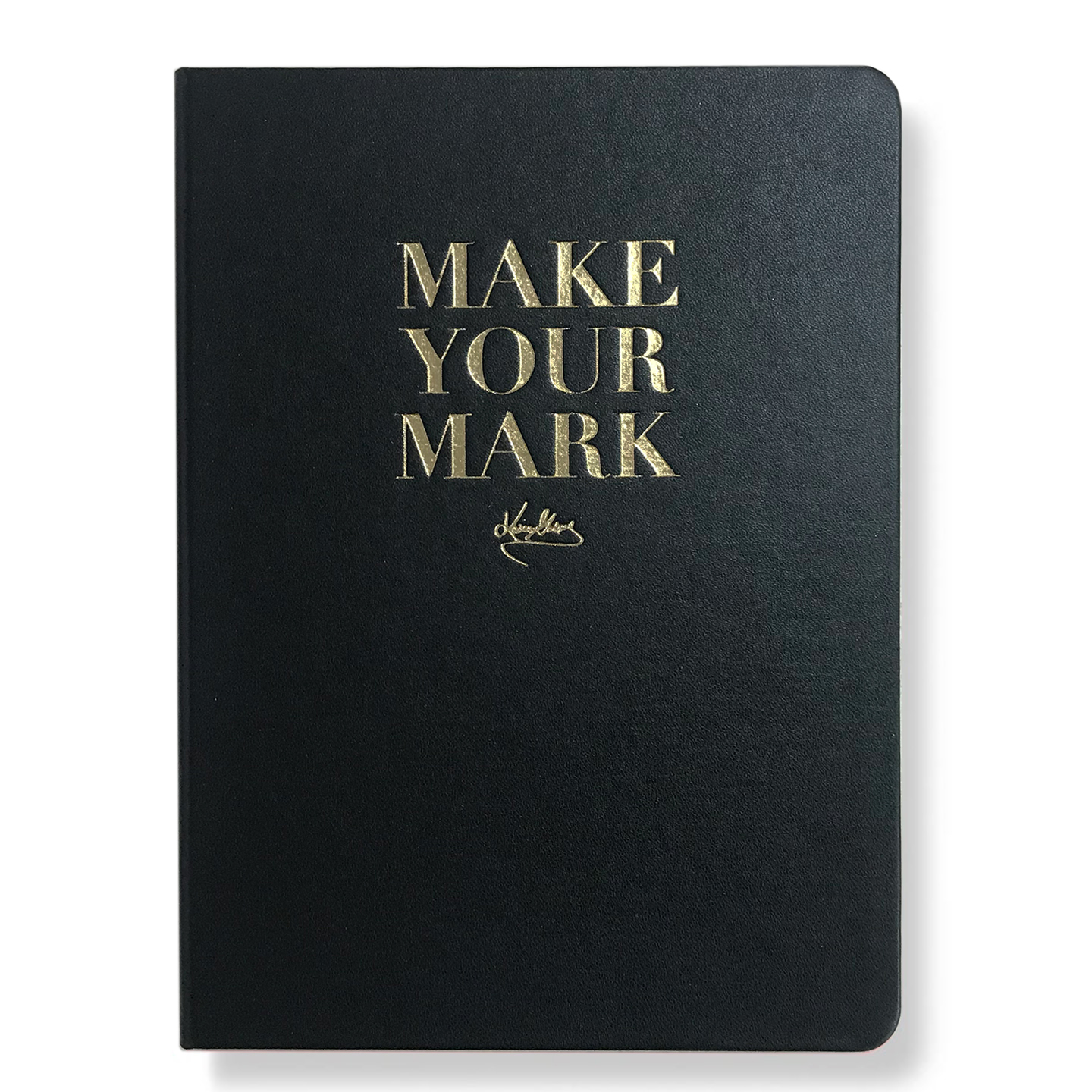 Black hardcover journal with make your mark words in gold.