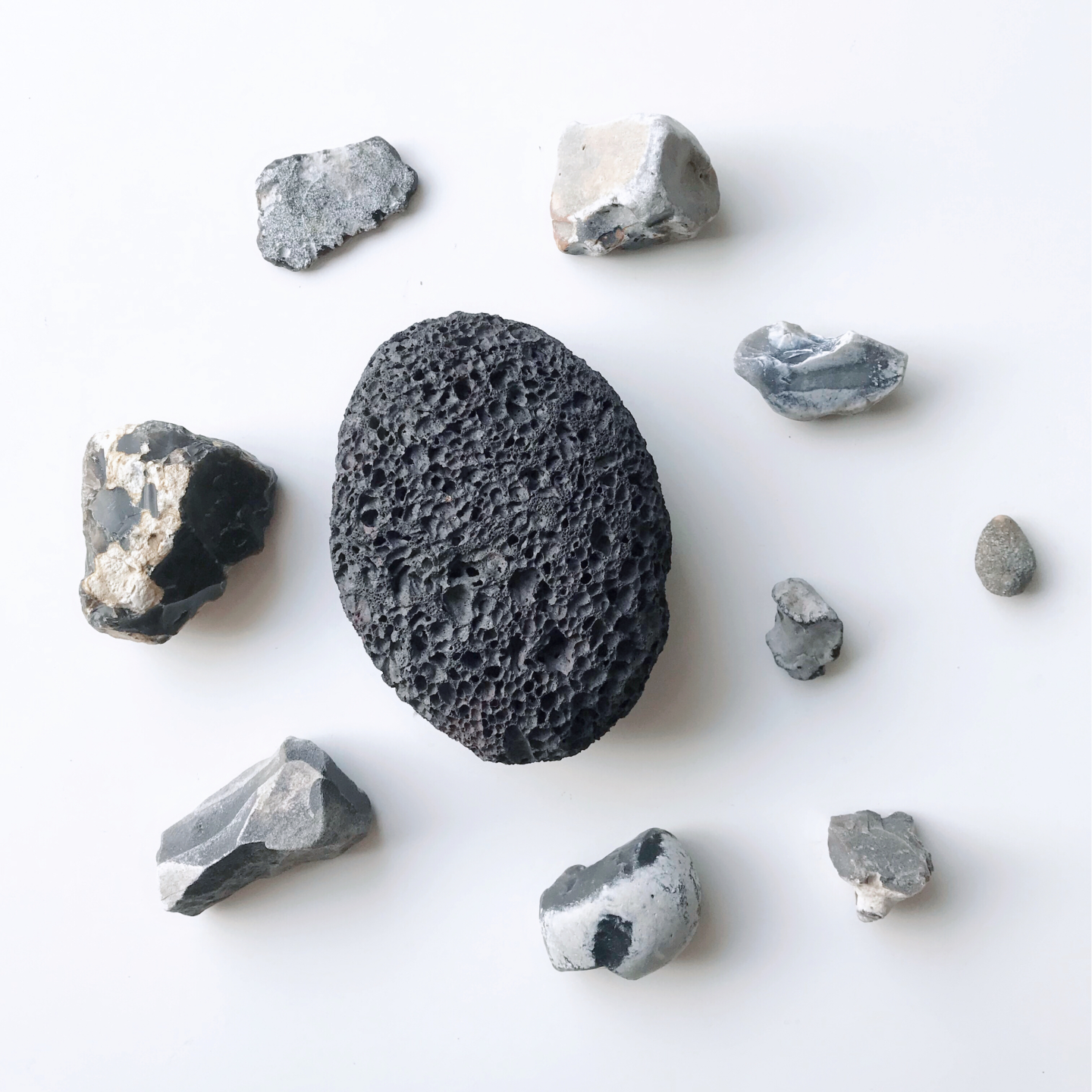 An exfoliating dark grey stone.