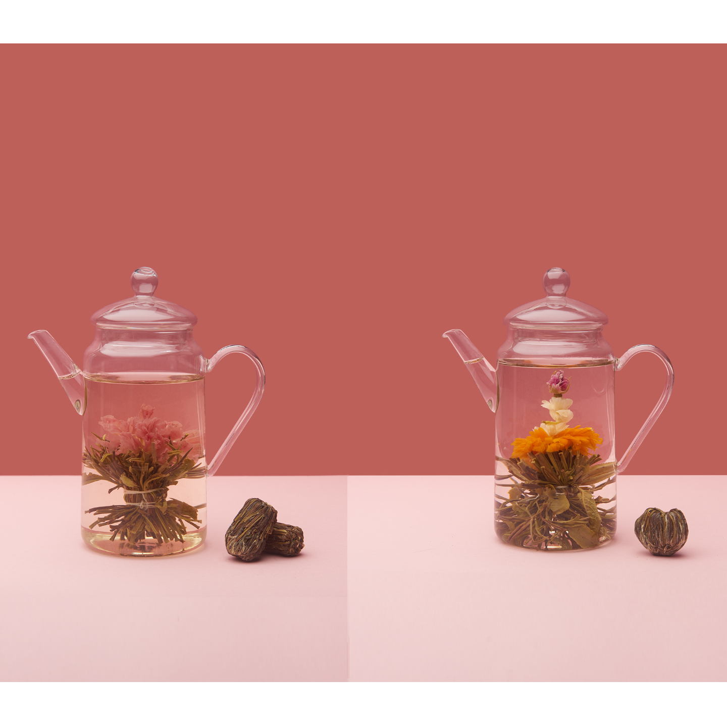 Two separate images of a clear transparent glass teapot placed beside each other. Both teapots are filled with water with two different types of blooming flowers found inside.