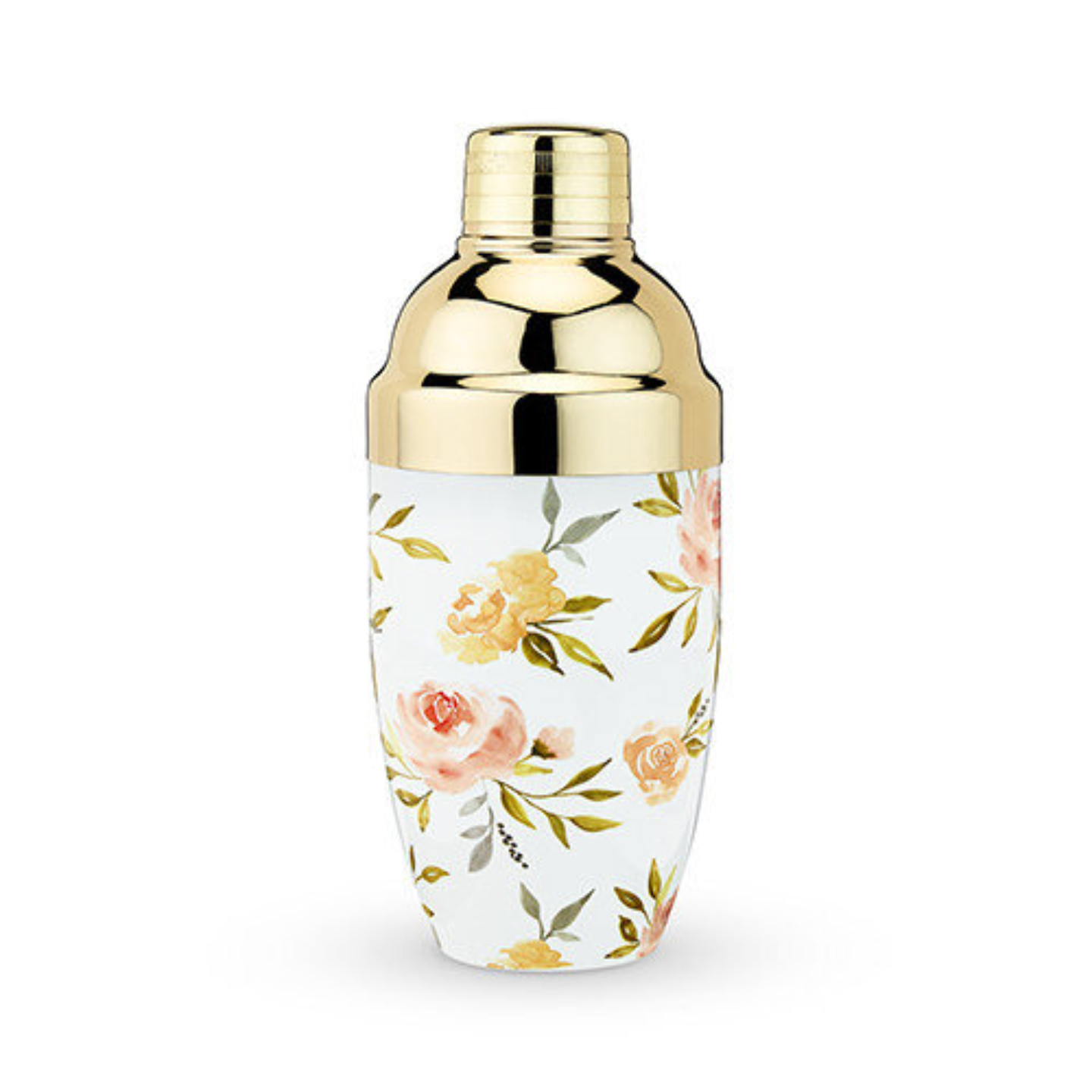 A gold cocktail shaker with watercolour floral prints on its body.