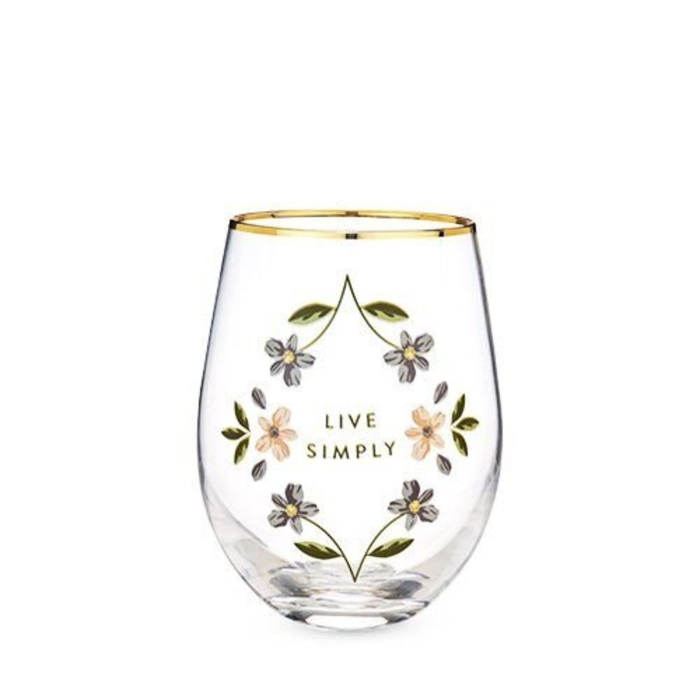 A gold rimmed stemless wine glass which says  Live Simply and is decorated by pink and blue flowers.
