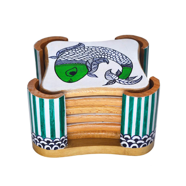 Tea coaster set with madhubani fish art