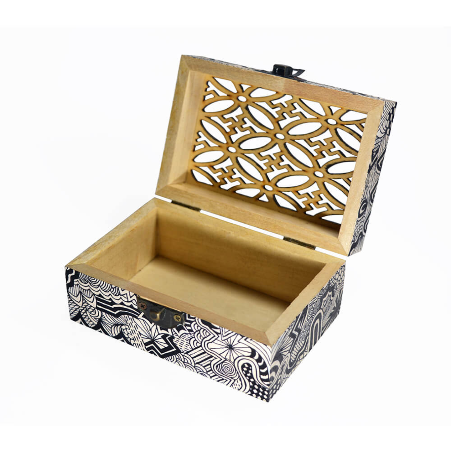 Wooden carved box with black and white doodling