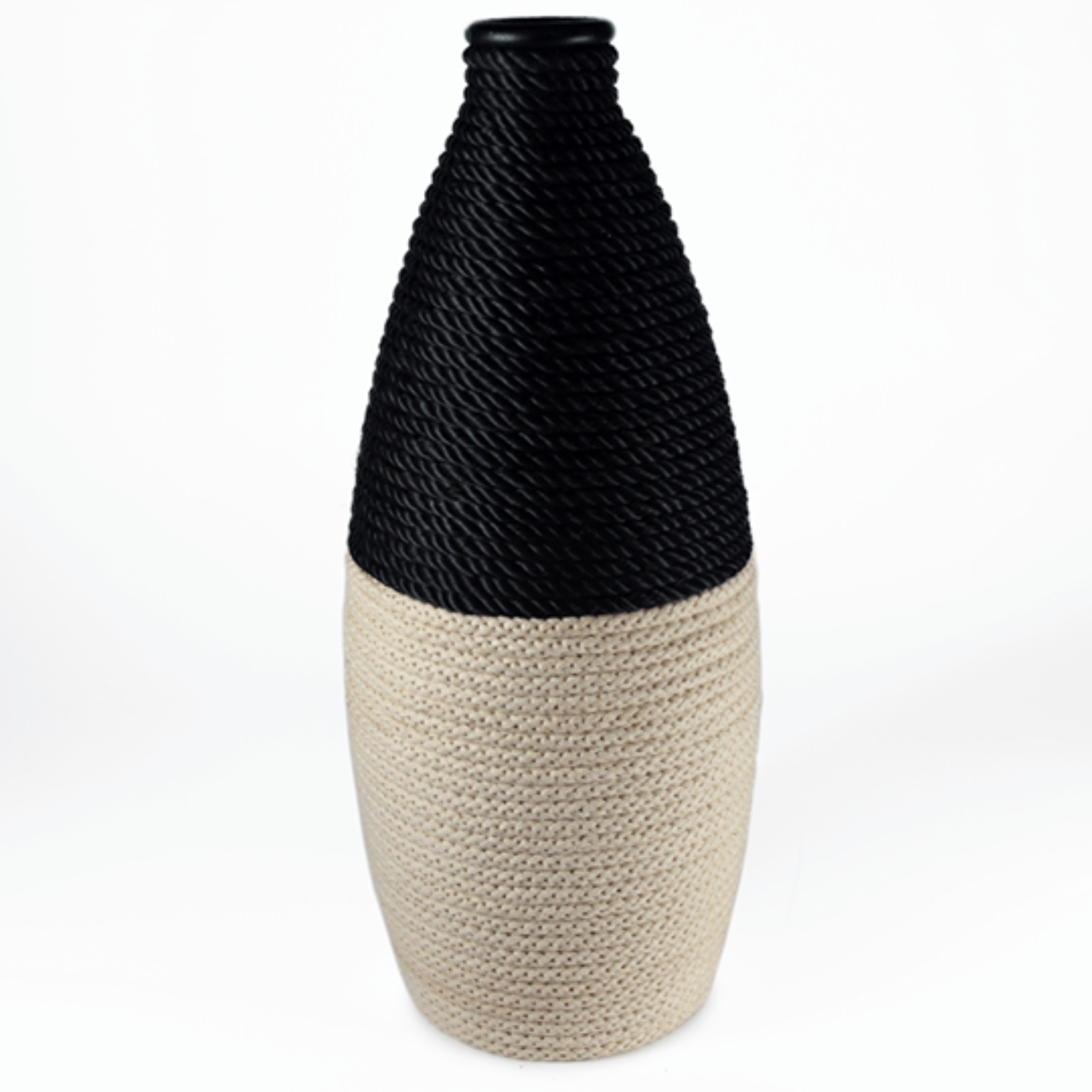 Black & off-white roped bottle