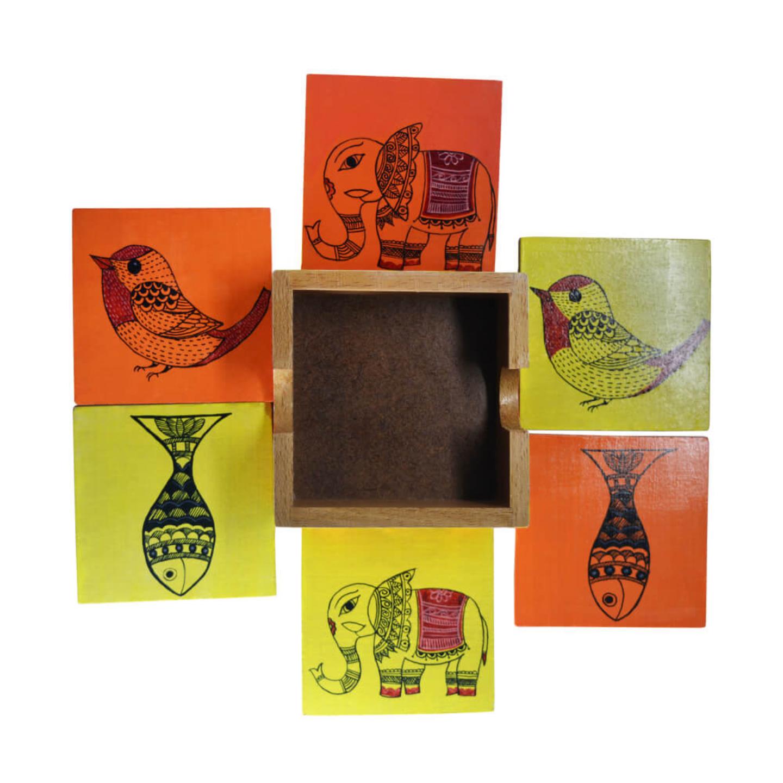 Square shaped tea coaster set with madhubani art