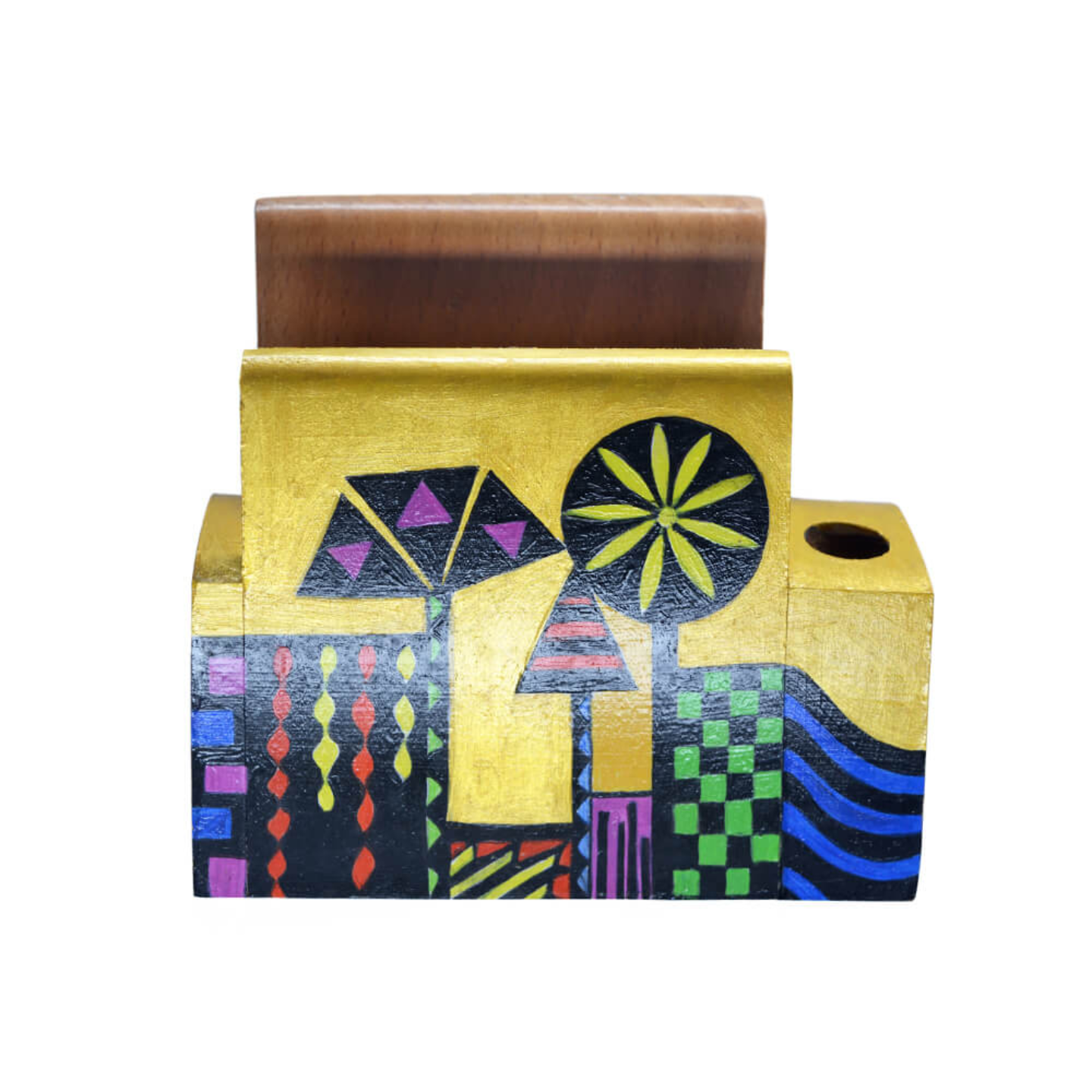 Pen and mobile stand with geometrical colourful design
