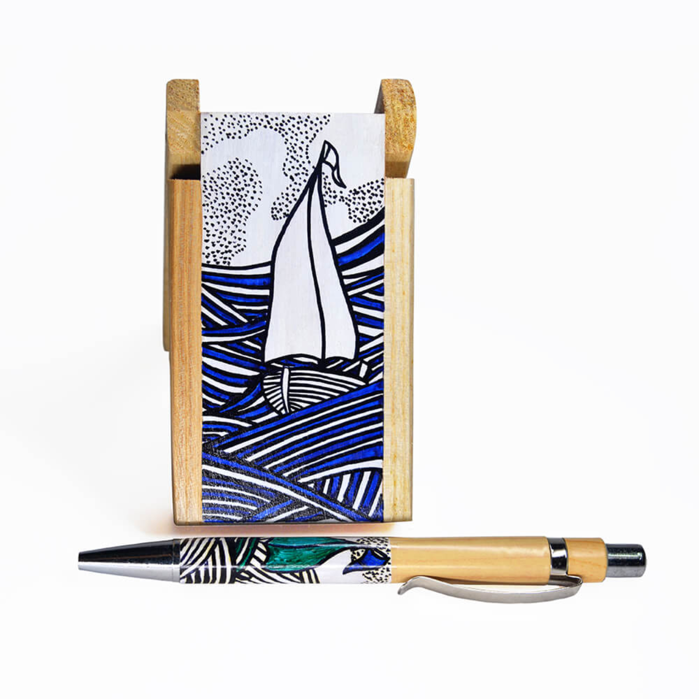 Pen stand with boat and waves doodling