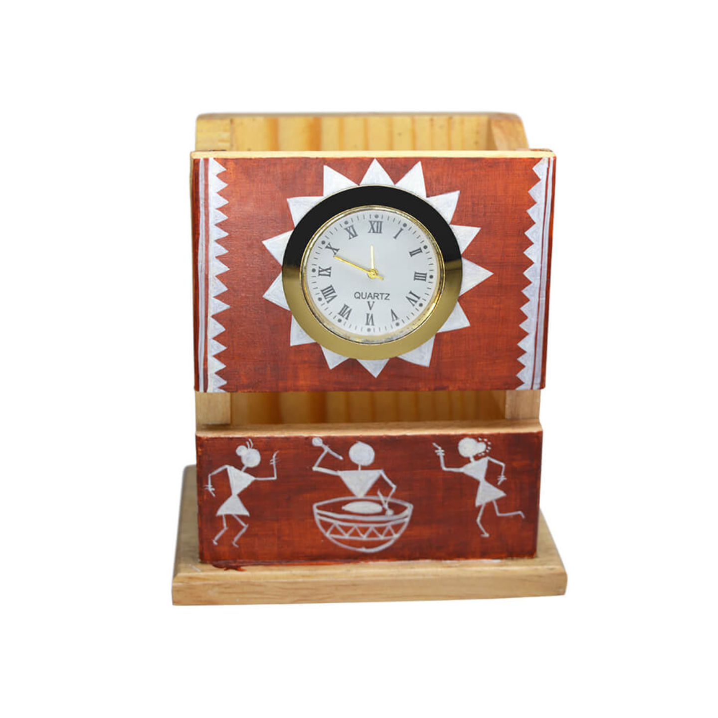 Pen stand with watch and beautiful warli art