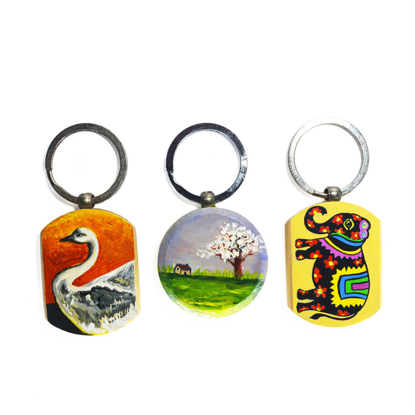 One side hand painted keychain set