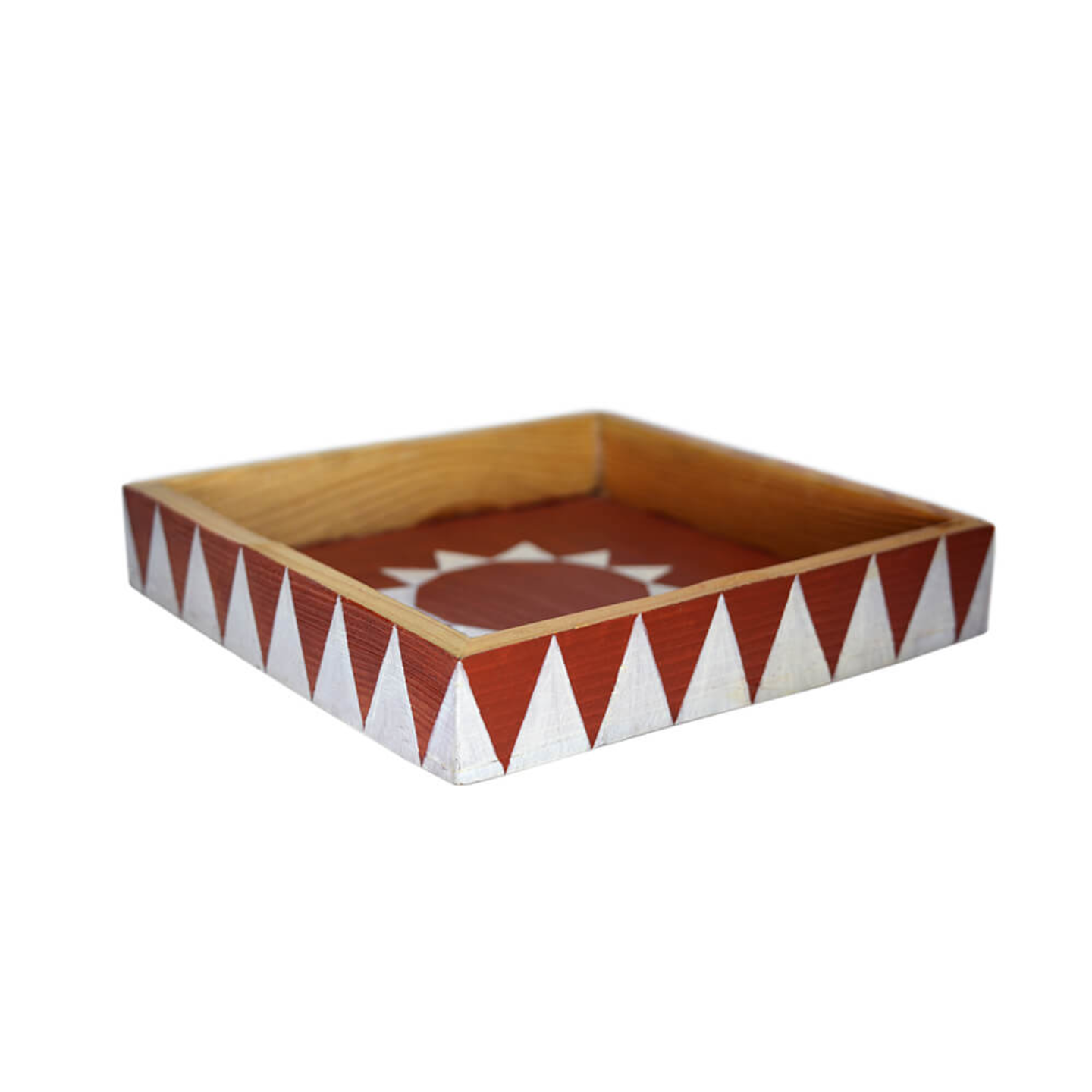 Square shaped wooden tray with triangular shaped handmade design